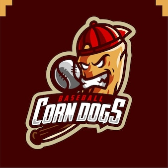 Logo di gioco della mascotte della squadra di baseball dei cani di mais