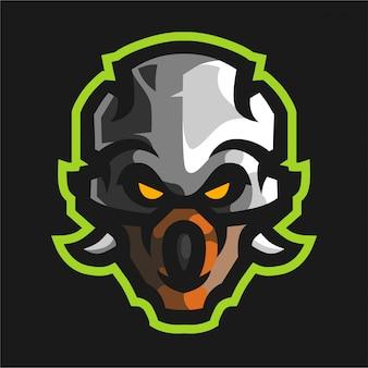 Logo di gioco della mascotte della testa del cranio