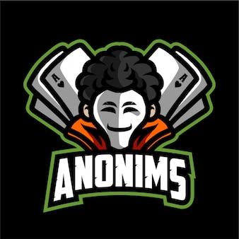Logo di gioco della mascotte di anonims