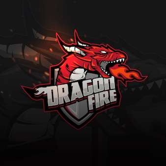 Logo di gioco di dragon shield sports