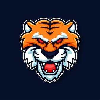 Logo di gioco esport bestia testa di tigre mascotte esportatore