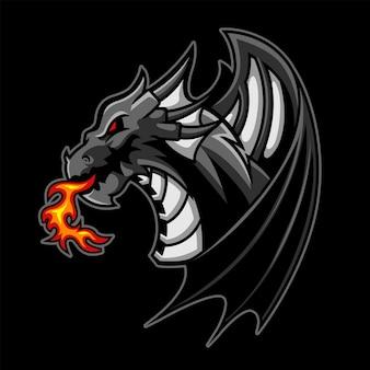 Logo di gioco esport di black dragon premium