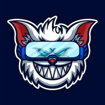 Logo di gioco esport white cat premium