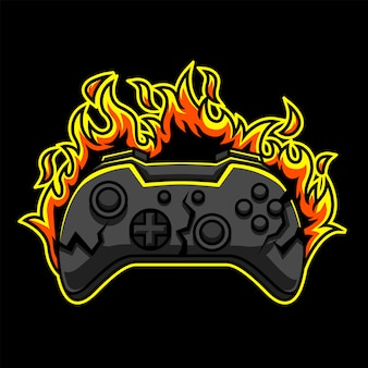 Logo di gioco in fiamme premium