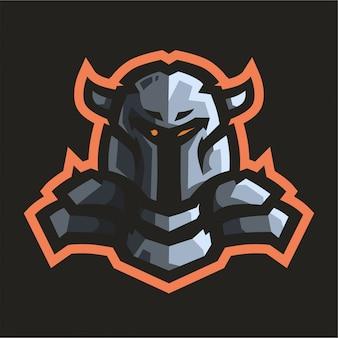 Logo di gioco mascotte cavaliere
