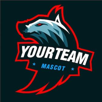 Logo di gioco mascotte lupi blu