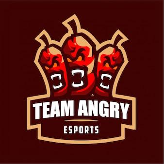 Logo di gioco mascotte peperoncino