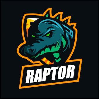 Logo di gioco mascotte raptor