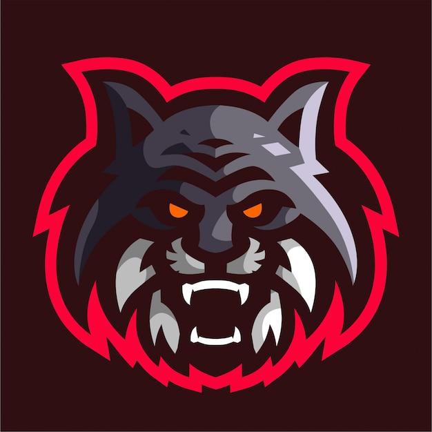 Logo di gioco mascotte testa di gatto arrabbiato