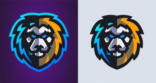Logo di gioco mascotte testa di leone