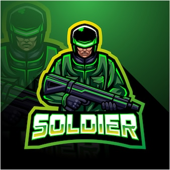 Logo di gioco soldato mascotte esport