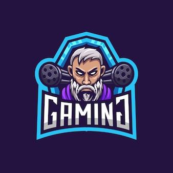 Logo di gioco uomo barba combattente