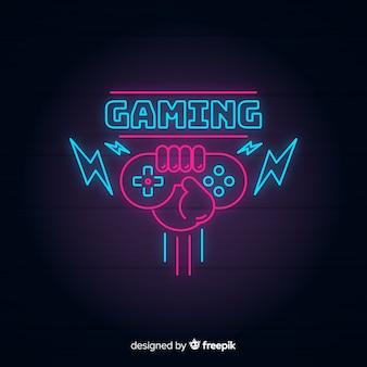 Logo di gioco vintage luci al neon