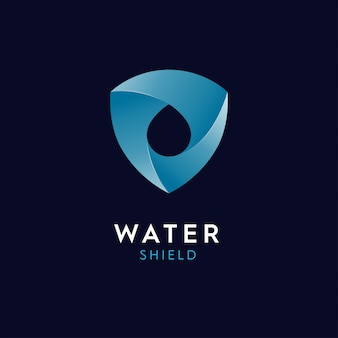 Logo di goccioline d'acqua e scudo illustrazioni