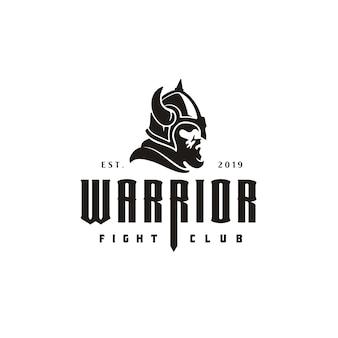 Logo di guerriero vintage retrò casco vichingo testa viso