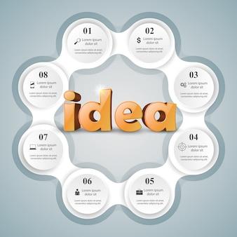 Logo di idea 3d sullo sfondo grigio