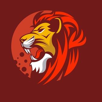 Logo di illustrazione vettoriale testa di mascotte animale leone