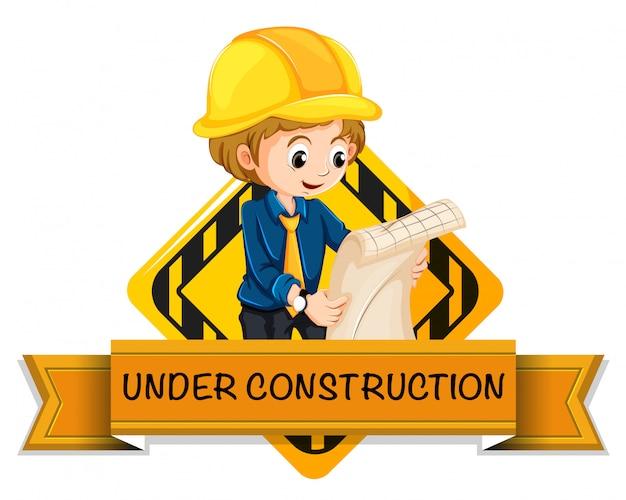 Logo di ingegnere in costruzione
