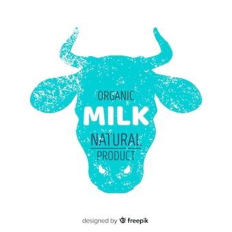 Logo di latte biologico di sagoma di testa di mucca