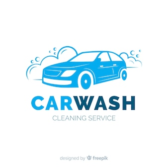 Logo di lavaggio auto blu piatto