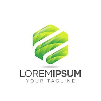 Logo di lettera e di esagono di foglie