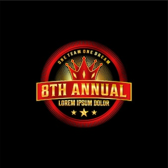 Logo di lusso anniversario, elegante oro e rosso