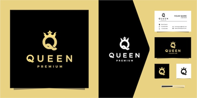 Logo di lusso lettera q o regina