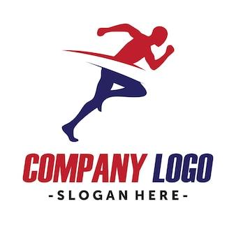 Logo di marcia e corsa