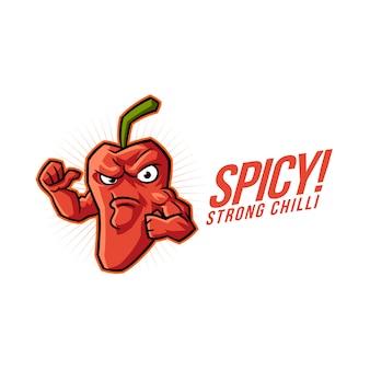 Logo di mascotte peperoncino piccante dei cartoni animati