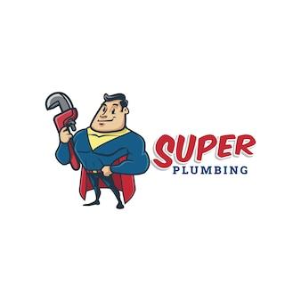 Logo di mascotte supereroe idraulico retrò vintage del fumetto o logo super impianto idraulico