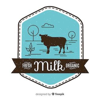 Logo di mucca silhouette latte biologico