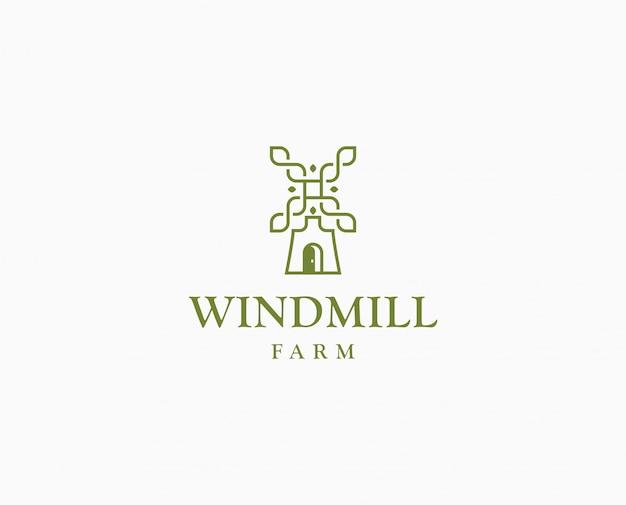 Logo di mulino di grano di agricoltura. modello di logo di fattoria wildmill