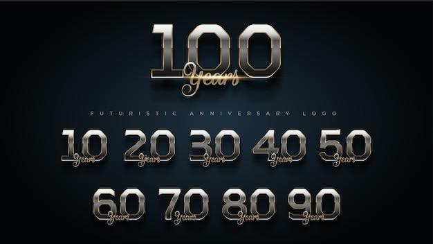 Logo di numero di anniversario di lusso in oro e argento di 100 anni