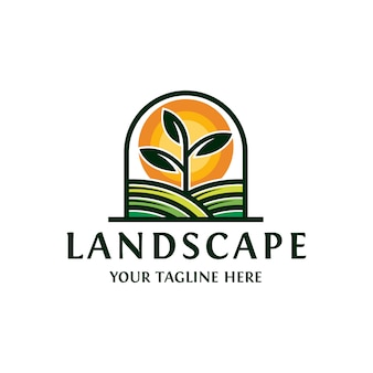 Logo di paesaggio sole pianta