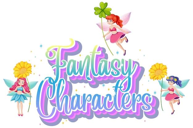 Logo di personaggi di fantasia con fiabe su bianco