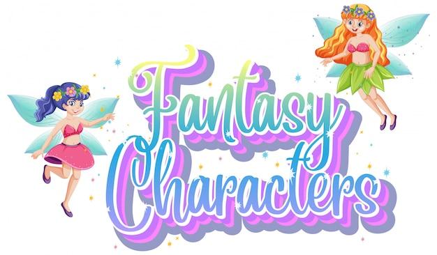 Logo di personaggi di fantasia con fiabe su sfondo bianco