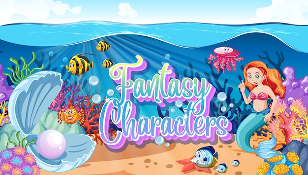 Logo di personaggi di fantasia con sirene sul mare