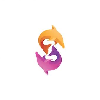 Logo di pesce animale dolphin