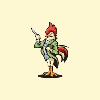 Logo di pollo su giallo,