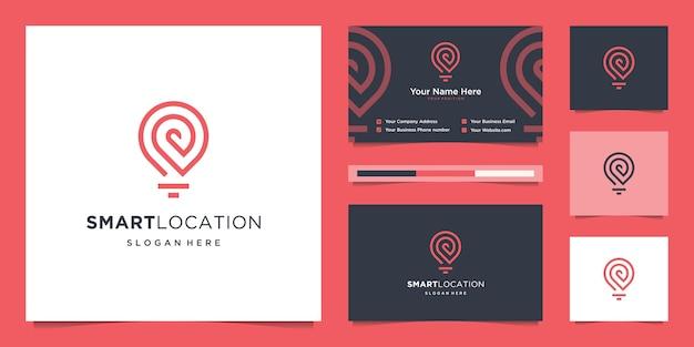 Logo di posizione smart tech con stile art line. tecnologia creativa, elettronica, digitale, spilla, logo e biglietto da visita