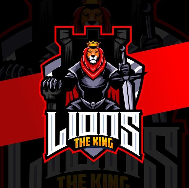 Logo di re leone cavaliere mascotte esport