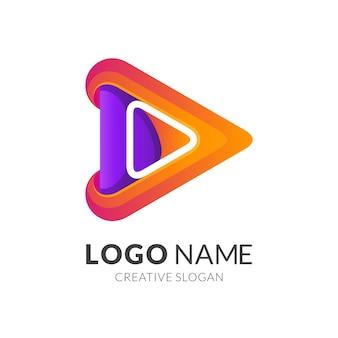 Logo di riproduzione multimediale freccia, colorato