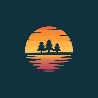 Logo di sagoma di alberi di pino