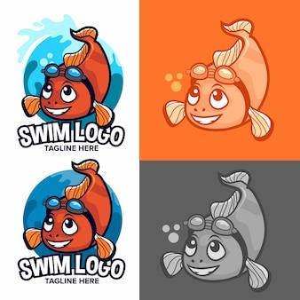 Logo di scuola di nuotata di pesci pagliaccio arancione con mascotte
