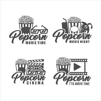 Logo di set di tempo di film popcorn