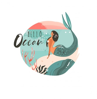 Logo di sfondo del modello di arte delle illustrazioni grafiche dell'ora legale del fumetto astratto disegnato a mano con ragazza sirena di paesaggio, tramonto e bellezza della spiaggia dell'oceano con citazione di tipografia hello ocean