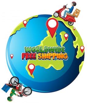 Logo di spedizione gratuita in tutto il mondo con ciclista o corriere che guida sulla terra