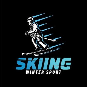 Logo di sport di sci. modello di logo di sport invernali