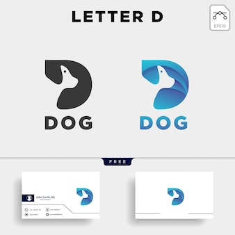Logo di stile di arte linea animale domestico cane lettera d