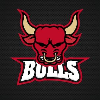 Logo di toro professionale moderno per una squadra sportiva. logo su uno sfondo scuro.